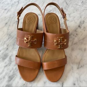Tory Burch gold logo brown block heel sandals